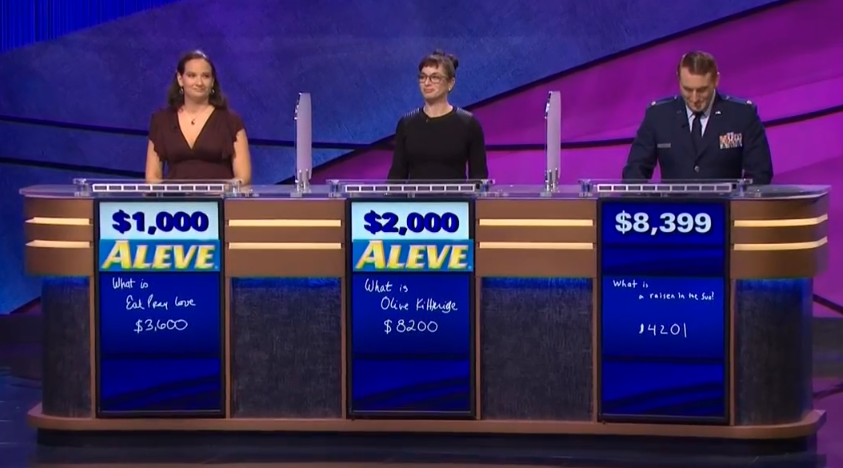 Meredith Larson, Rachel Hirsch, Woody Bell Final Jeopardy December 12, 2013