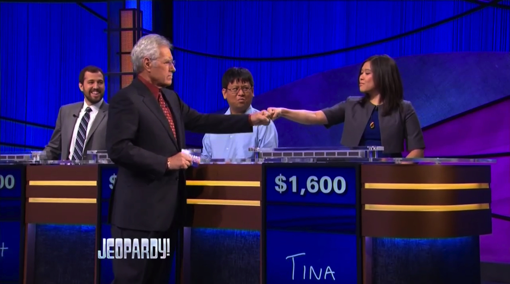 Tina Nguyen Jeopardy! fist-bump