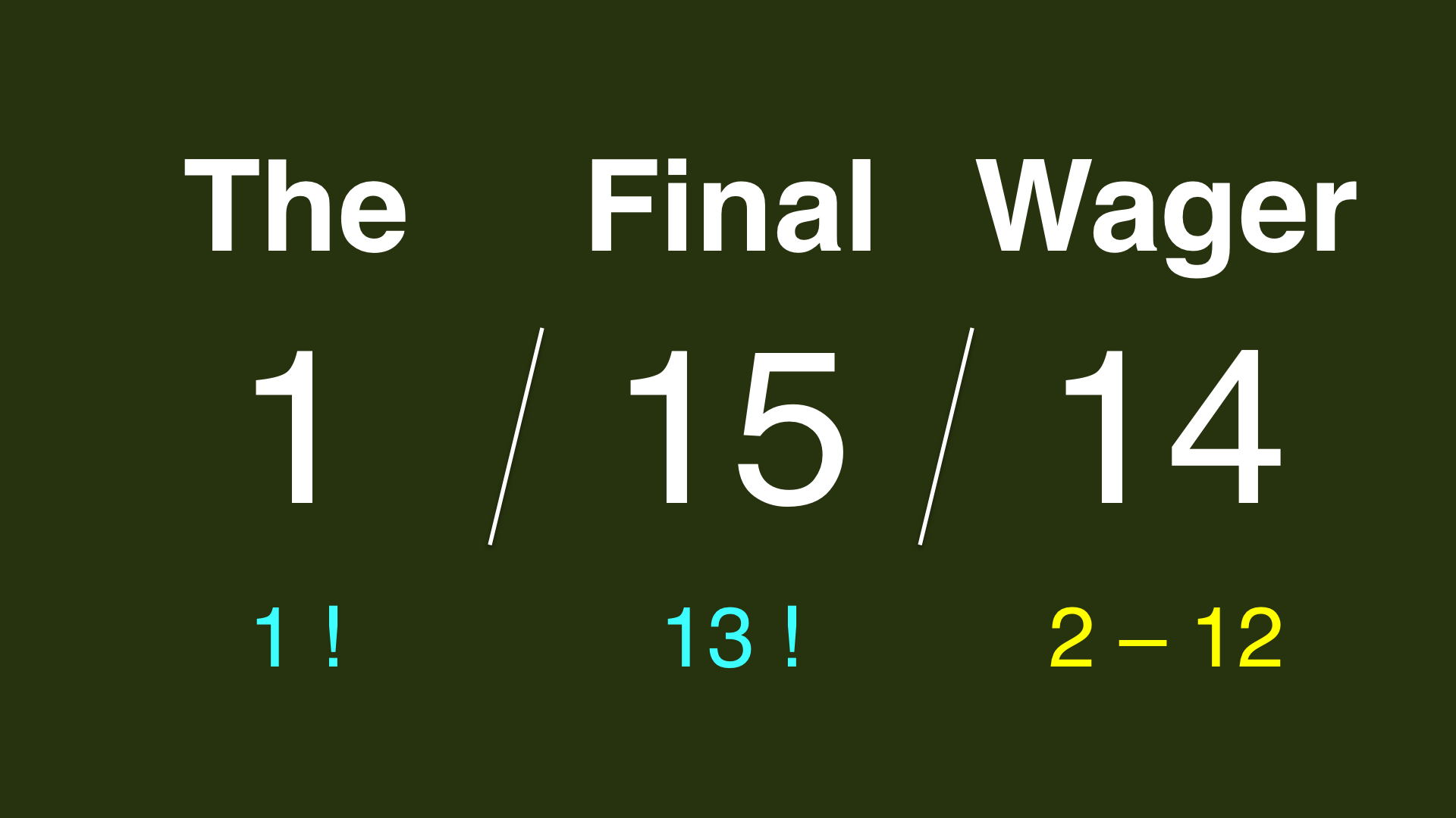 The Final Wager - January 15, 2014