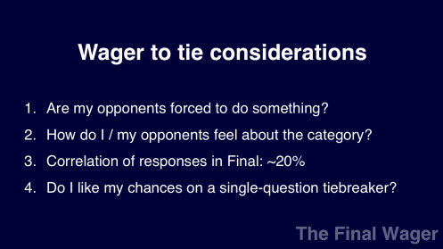Jeopardy! tournament ties considerations