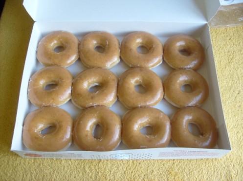Dozen Krispy Kreme donuts