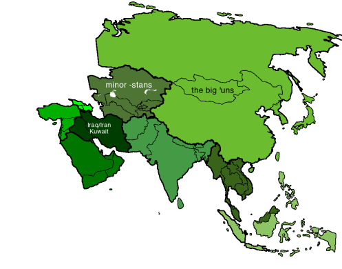 Map of Asia with mnemonic regions solid